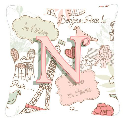 Letter N Love in Paris Pink Canvas Fabric Decorative Pillow CJ2002-NPW1414 by Caroline's Treasures