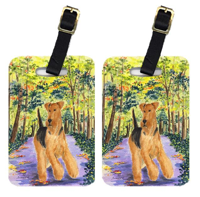 Pair of 2 Airedale Luggage Tags by Caroline's Treasures