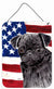 USA American Flag with Pug Aluminium Metal Wall or Door Hanging Prints by Caroline's Treasures