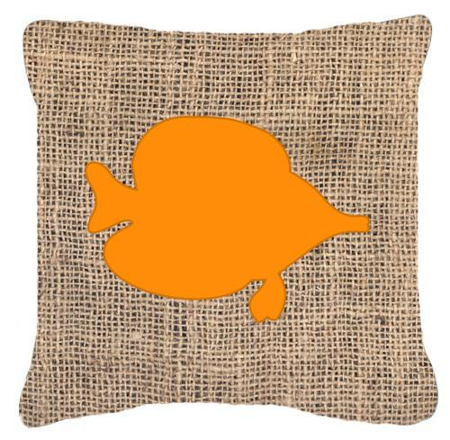 Buy this Fish - Tang Fish Burlap and Orange   Canvas Fabric Decorative Pillow BB1023