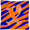 Monogram Initial X Tiger Stripe Blue and Orange Decorative Canvas Fabric Pillow - the-store.com