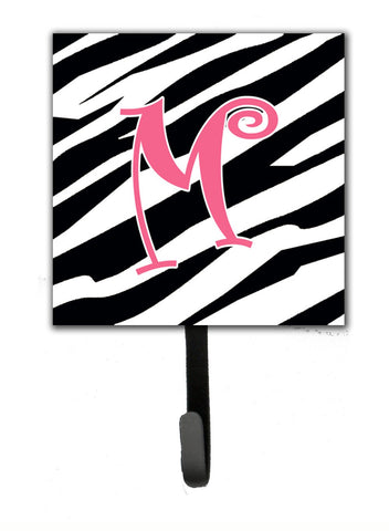 Buy this Letter M Initial Monogram - Zebra Stripe and Pink Leash Holder or Key Hook