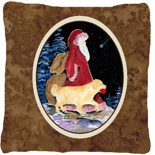 Santa Claus with  Golden Retriever Decorative   Canvas Fabric Pillow by Caroline's Treasures