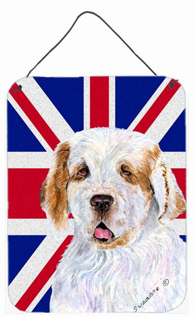 Clumber Spaniel with English Union Jack British Flag Wall or Door Hanging Prints SS4942DS1216 by Caroline's Treasures
