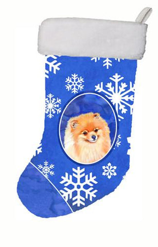 Buy this Pomeranian Winter Snowflakes Snowflakes Holiday Christmas Stocking LH9305