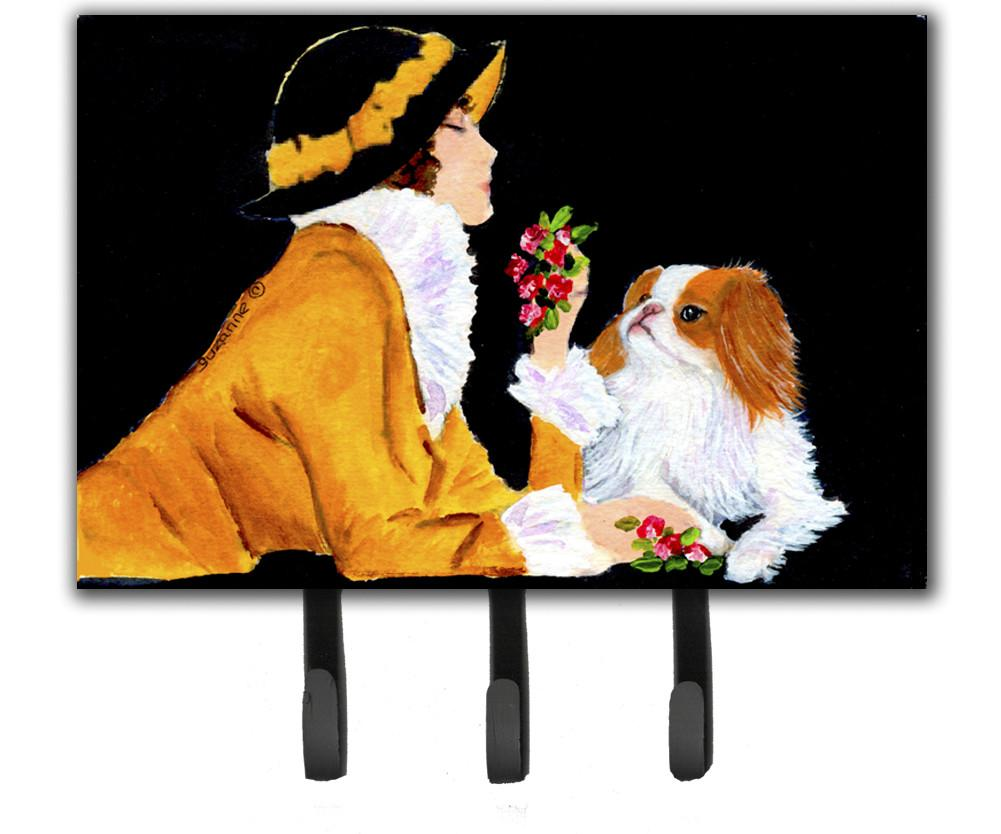 Lady with her Japanese Chin Leash Holder or Key Hook by Caroline's Treasures