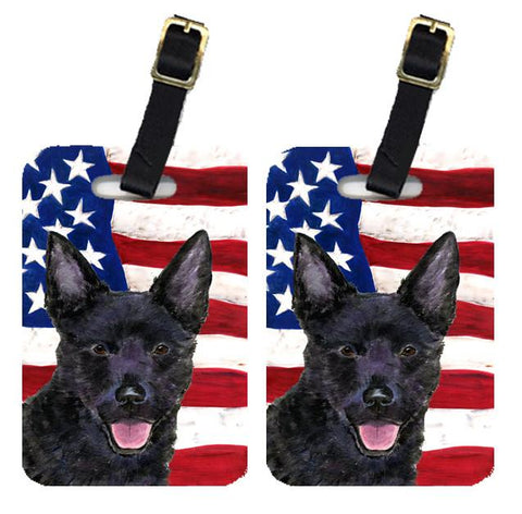 Buy this Pair of USA American Flag with Australian Kelpie Luggage Tags SS4025BT