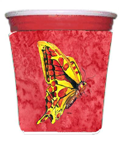 Butterfly on Red Red Solo Cup Beverage Insulator Hugger by Caroline's Treasures