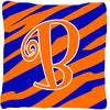 Monogram Initial B Tiger Stripe Blue and Orange Decorative Canvas Fabric Pillow - the-store.com