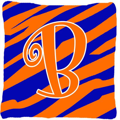 Buy this Monogram Initial B Tiger Stripe Blue and Orange Decorative Canvas Fabric Pillow