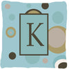 Monogram - Initial K Blue Dots Decorative   Canvas Fabric Pillow CJ1013 - the-store.com