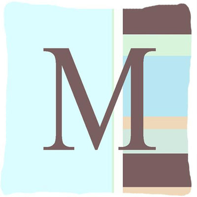 Buy this Letter M Initial Monogram - Blue Stripes Decorative   Canvas Fabric Pillow