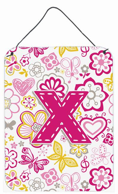 Letter X Flowers and Butterflies Pink Wall or Door Hanging Prints CJ2005-XDS1216 by Caroline's Treasures