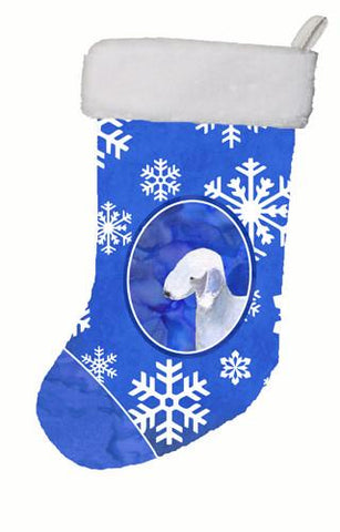 Buy this Bedlington Terrier Winter Snowflakes Christmas Stocking SS4621