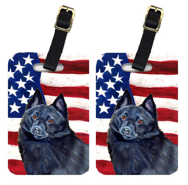 Pair of USA American Flag with Schipperke Luggage Tags LH9009BT by Caroline's Treasures