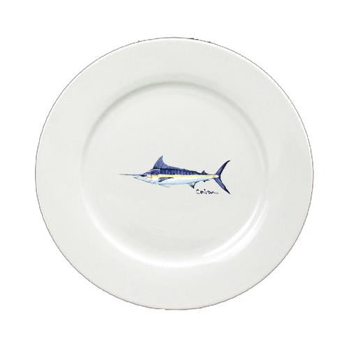 Buy this Fish Blue Marlin Ceramic - Plate Round 11 inch solid white 8674-DPW