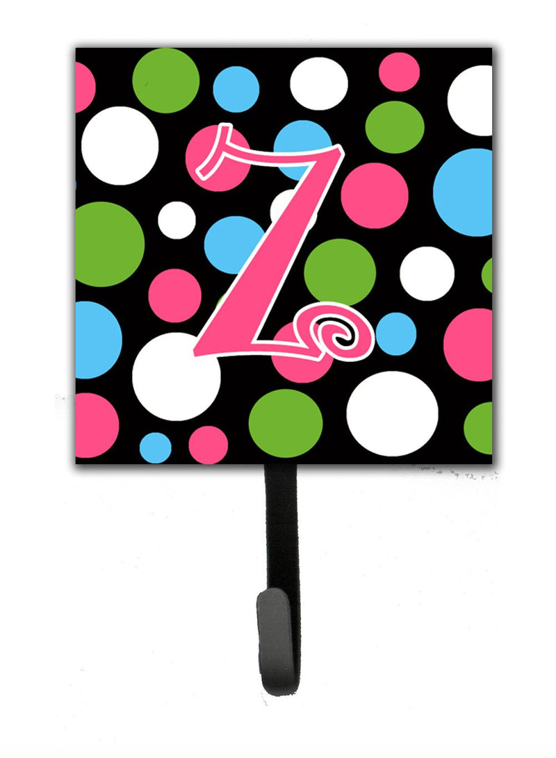 Buy this Letter Z Initial Monogram - Polkadots and Pink Leash Holder or Key Hook