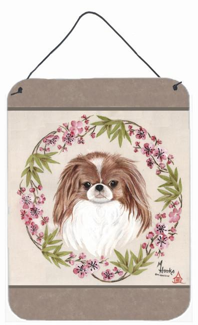 Japanese Chin Wreath of Flowers Wall or Door Hanging Prints MH1009DS1216 by Caroline's Treasures