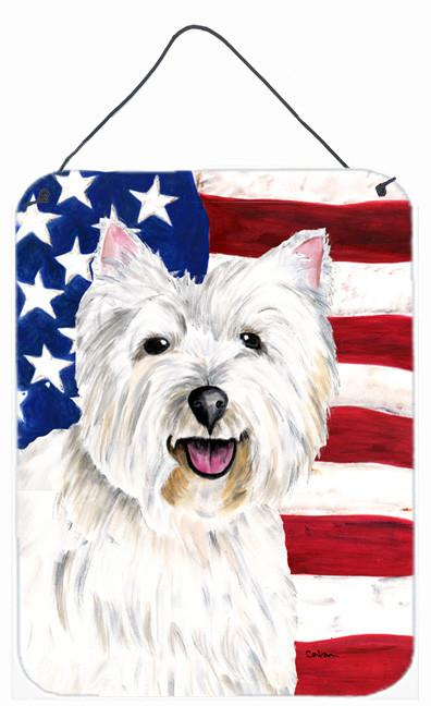 USA American Flag with Westie Aluminium Metal Wall or Door Hanging Prints by Caroline's Treasures