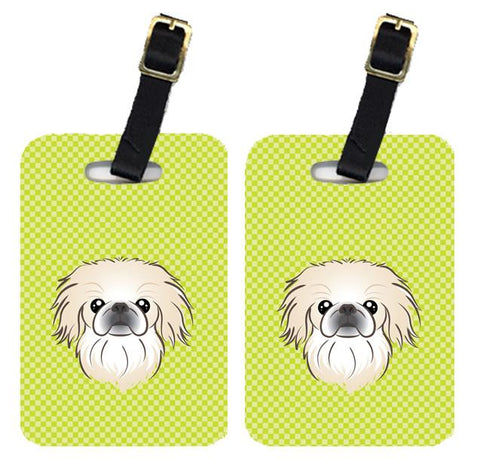 Buy this Pair of Checkerboard Lime Green Pekingese Luggage Tags BB1283BT