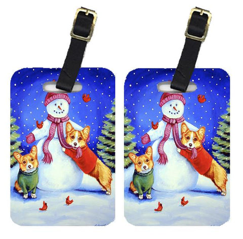 Buy this Snowman with Corgi Luggage Tags Pair of 2