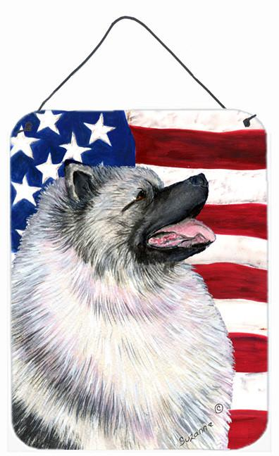 USA American Flag with Keeshond Aluminium Metal Wall or Door Hanging Prints by Caroline's Treasures