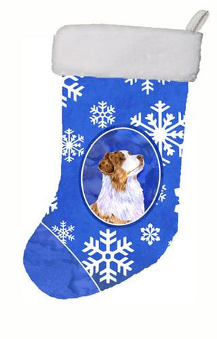 Buy this Australian Shepherd Winter Snowflakes Snowflakes Holiday Christmas  Stocking