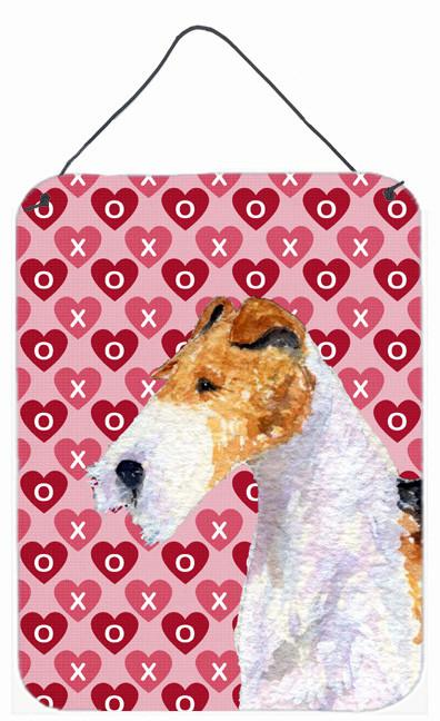 Fox Terrier Hearts Love and Valentine's Day Wall or Door Hanging Prints by Caroline's Treasures