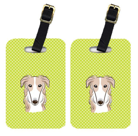 Buy this Pair of Checkerboard Lime Green Borzoi Luggage Tags BB1290BT