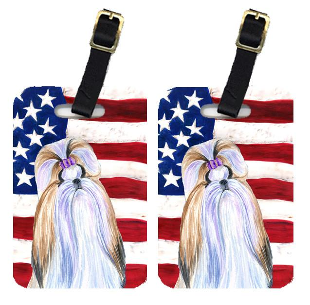Buy this Pair of USA American Flag with Shih Tzu Luggage Tags SS4221BT