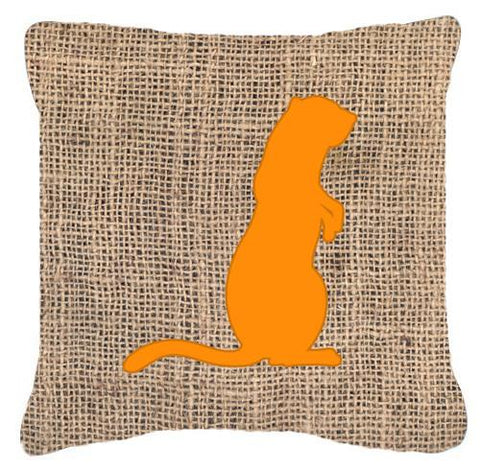 Buy this Meerkat Burlap and Orange   Canvas Fabric Decorative Pillow BB1118