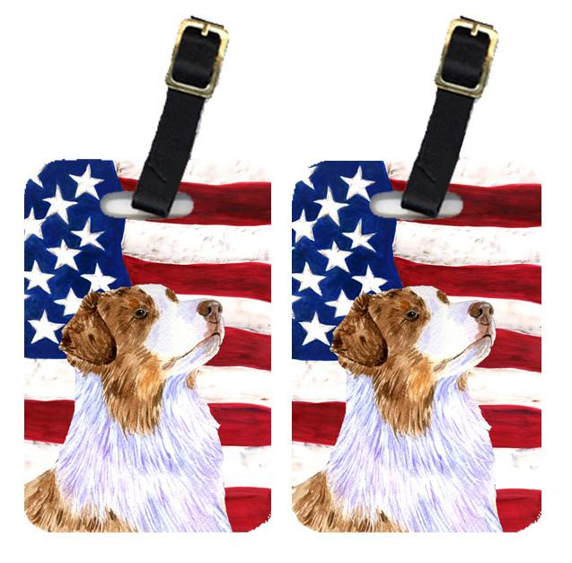 Pair of USA American Flag with Australian Shepherd Luggage Tags SS4252BT by Caroline's Treasures
