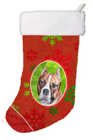 Buy this Staffordshire Bull Terrier Staffie Red Snowflakes Holiday Christmas Stocking SC9752-CS