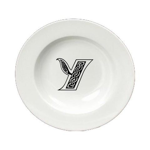 Buy this Letter Y Initial Monogram Celtic Round Ceramic White Soup Bowl CJ1059-Y-SBW-825