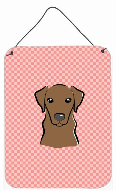Checkerboard Pink Chocolate Labrador Wall or Door Hanging Prints BB1234DS1216 by Caroline's Treasures