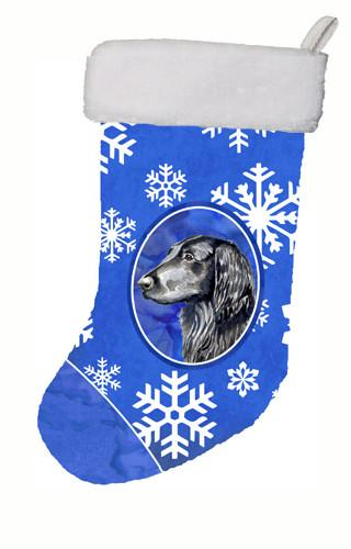 Flat Coated Retriever Winter Snowflakes Snowflakes Holiday  Christmas Stocking by Caroline's Treasures