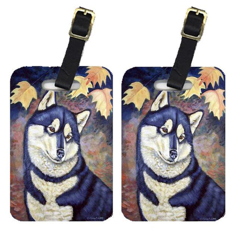 Buy this Fall Leaves Siberian Husky Luggage Tags Pair of 2