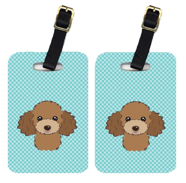 Pair of Checkerboard Blue Chocolate Brown Poodle Luggage Tags BB1194BT by Caroline's Treasures