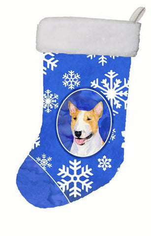 Buy this Bull Terrier Winter Snowflakes Christmas Stocking SS4634