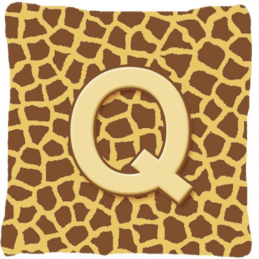 Buy this Monogram Initial Q Giraffe Decorative   Canvas Fabric Pillow CJ1025