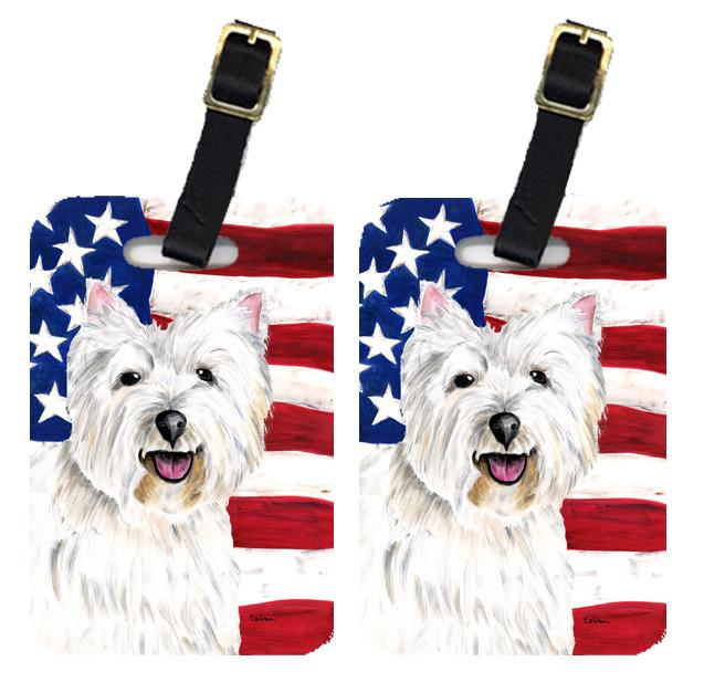 Pair of USA American Flag with Westie Luggage Tags SC9008BT by Caroline's Treasures
