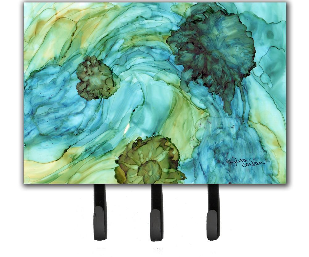 Buy this Abstract in Teal Flowers Leash or Key Holder 8952TH68
