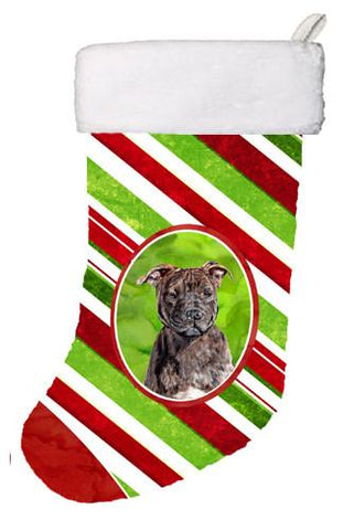 Buy this Staffordshire Bull Terrier Staffie Candy Cane Christmas Christmas Stocking SC9801-CS
