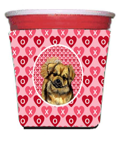 Buy this Tibetan Spaniel Valentine's Love and Hearts Red Solo Cup Beverage Insulator Hugger