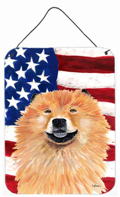 USA American Flag with Chow Chow Aluminium Metal Wall or Door Hanging Prints by Caroline's Treasures
