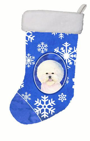 Buy this Bichon Frise Winter Snowflakes Christmas Stocking SS4664