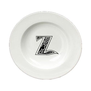 Buy this Letter Z Initial Monogram Celtic Round Ceramic White Soup Bowl CJ1059-Z-SBW-825