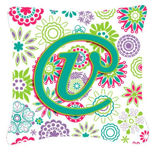 Letter V Flowers Pink Teal Green Initial Canvas Fabric Decorative Pillow CJ2011-VPW1414 by Caroline's Treasures
