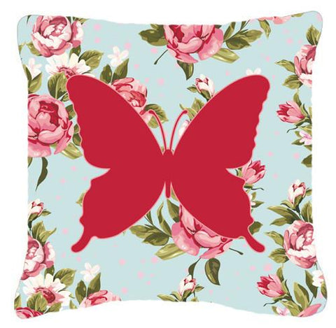 Buy this Butterfly Shabby Chic Blue Roses   Canvas Fabric Decorative Pillow BB1046