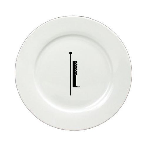 Buy this Letter I Initial Monogram Modern Round Ceramic White Salad Plate CJ1056-I-DPW